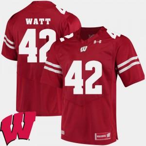 Men Badgers #42 T.J. Watt Red Alumni Football Game 2018 NCAA Jersey 564314-714