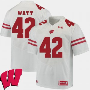 For Men Wisconsin Badger #42 T.J. Watt White Alumni Football Game 2018 NCAA Jersey 359867-813