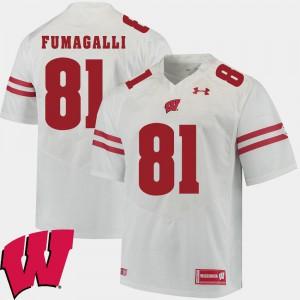 Mens Wisconsin Badger #81 Troy Fumagalli White Alumni Football Game 2018 NCAA Jersey 125069-710