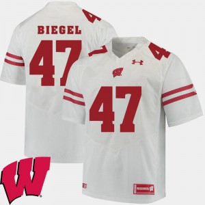 Men's Badgers #47 Vince Biegel White Alumni Football Game 2018 NCAA Jersey 604830-685