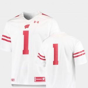 Mens University of Wisconsin #1 White College Football Team Replica Jersey 604811-261
