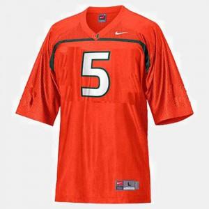 For Men Miami Hurricanes #5 Andre Johnson Orange College Football Jersey 994688-423