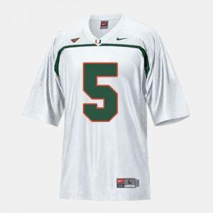 For Men's University of Miami #5 Andre Johnson White College Football Jersey 899679-819