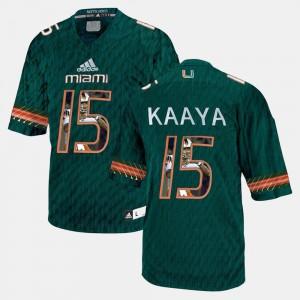 Mens University of Miami #15 Brad Kaaya Green Player Pictorial Jersey 163050-946