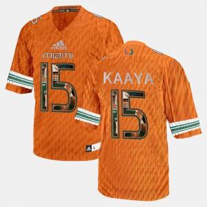 Mens Miami #15 Brad Kaaya Orange Player Pictorial Jersey 573166-423