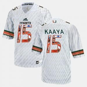 For Men's Miami #15 Brad Kaaya White Player Pictorial Jersey 989043-597