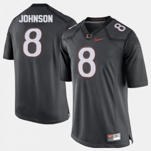 For Men's University of Miami #8 Duke Johnson Gray College Football Jersey 703675-641