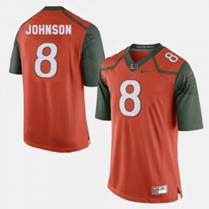 For Men's Miami #8 Duke Johnson Orange College Football Jersey 610394-345