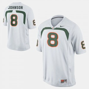 Men's Miami Hurricanes #8 Duke Johnson White College Football Jersey 901272-582
