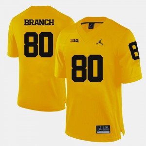 For Men's University of Michigan #80 Alan Branch Yellow College Football Jersey 599991-922
