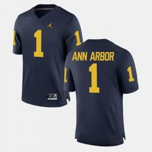 Mens University of Michigan #1 Ann Arbor Navy Alumni Football Game Jersey 225951-409