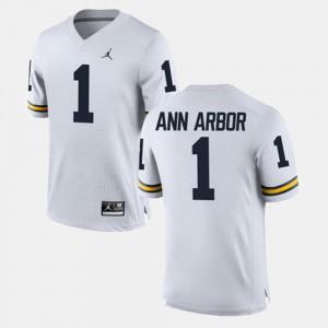 For Men Michigan #1 Ann Arbor White Alumni Football Game Jersey 336904-146