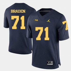 Men U of M #71 Ben Braden Navy Blue College Football Jersey 381868-129