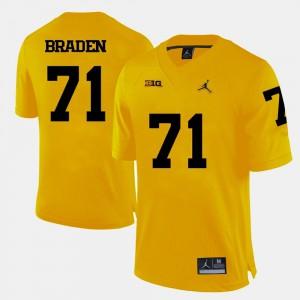 For Men's Michigan #71 Ben Braden Yellow College Football Jersey 532187-894