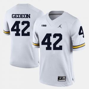 Men's Michigan #42 Ben Gedeon White College Football Jersey 227944-820