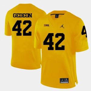 For Men Wolverines #42 Ben Gedeon Yellow College Football Jersey 223043-271