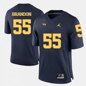 Mens Michigan Wolverines #55 Brandon Graham Navy Blue College Football Jersey 996255-797