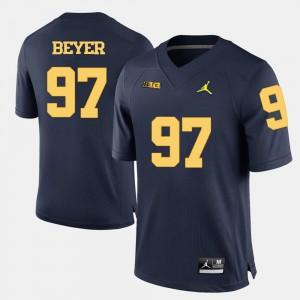 Men's University of Michigan #97 Brennen Beyer Navy Blue College Football Jersey 709676-477