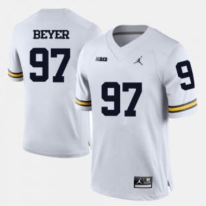 Men's Wolverines #97 Brennen Beyer White College Football Jersey 700712-629