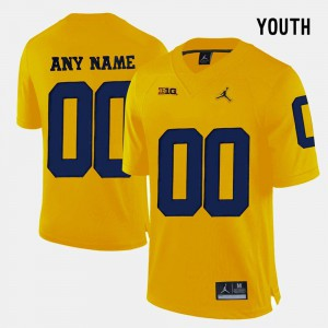 For Kids Michigan Wolverines #00 Yellow College Limited Football Custom Jerseys 190327-819