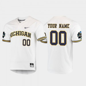 For Men's Wolverines #00 White 2019 NCAA Baseball College World Series Custom Jersey 259601-845