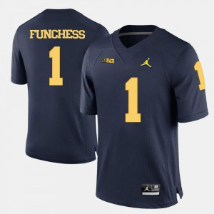 Mens Michigan Wolverines #1 Devin Funchess Navy Blue College Football Jersey 234322-755