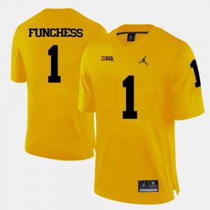 Mens Michigan #1 Devin Funchess Yellow College Football Jersey 812503-489