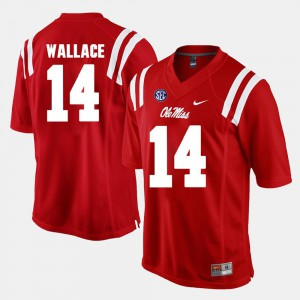 Mens Ole Miss #14 Mike Wallace Red Alumni Football Game Jersey 757870-839