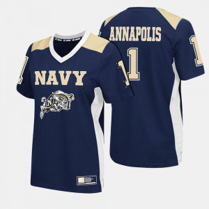 Womens United States Naval Academy #1 Navy College Football Jersey 456677-369