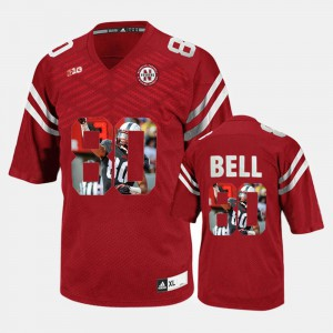 For Men's Cornhuskers #80 Kenny Bell Red Player Pictorial Jersey 712421-935