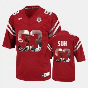 Mens University of Nebraska #93 Ndamukong Suh Red Player Pictorial Jersey 497424-146
