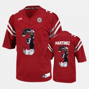 Men's Nebraska #3 Taylor Martinez Red Player Pictorial Jersey 375722-461
