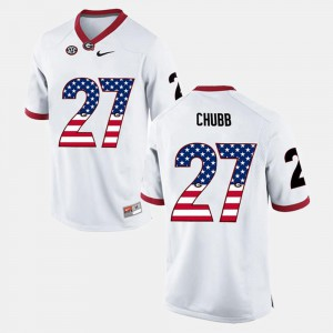 Men Georgia #27 Nick Chubb White US Flag Fashion Jersey 336014-832