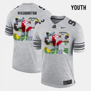 Youth(Kids) Ohio State Buckeye #9 Adolphus Washington Gray Pictorital Gridiron Fashion Pictorial Gridiron Fashion Jersey 836125-379