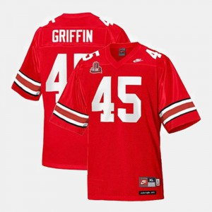 For Men OSU Buckeyes #45 Archie Griffin Red College Football Jersey 455416-557