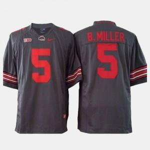 For Men's OSU Buckeyes #5 Braxton Miller Gray College Football Jersey 876881-385