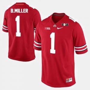 For Men's Buckeye #1 Braxton Miller Red College Football Jersey 142944-500