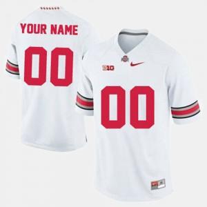 For Men Ohio State #00 White College Football Custom Jersey 417983-681
