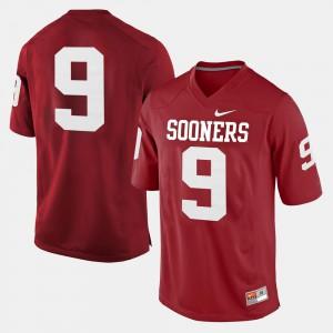 For Men University Of Oklahoma #9 Crimson College Football Jersey 125046-608