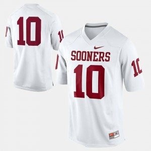 For Men Oklahoma Sooners #10 White College Football Jersey 128289-482