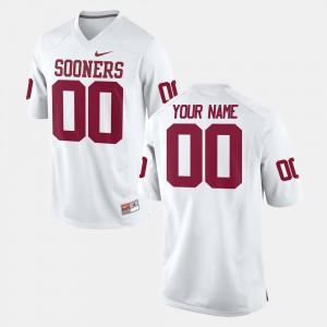 For Men's Sooner #00 White College Football Custom Jerseys 877738-770