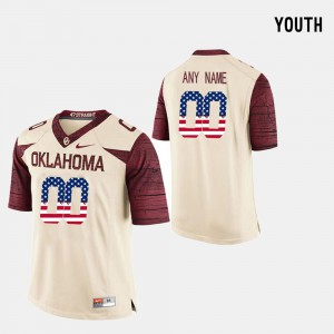 Kids OU #00 Crimson US Flag Fashion Custom Jerseys 690122-485