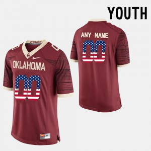 Kids Sooners #00 Red US Flag Fashion Customized Jersey 378698-987