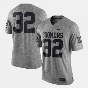 Men Sooners #32 Gray Gridiron Gray Limited Gridiron Limited Jersey 525701-653