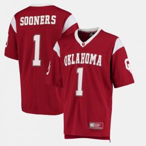 Men Oklahoma Sooners #1 Crimson Hail Mary II Jersey 452968-272