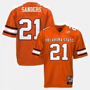 For Men's Okstate #21 Barry Sanders Orange College Football Jersey 577761-638
