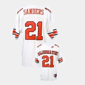 Youth OSU Cowboys #21 Barry Sanders White College Football Jersey 960868-482