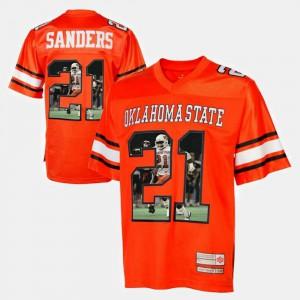 Men Oklahoma State University #21 Barry Sanders Orange Player Pictorial Jersey 997281-579