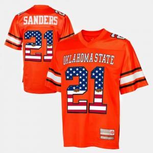 Men's OSU Cowboys #21 Barry Sanders Orange Throwback Jersey 463326-844