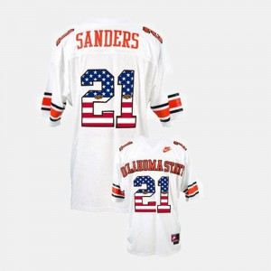 Mens Oklahoma State #21 Barry Sanders White Throwback Jersey 849301-854
